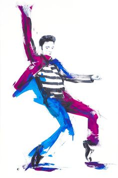 Original Art #ELVIS #PRESLEY ready to hang // Art by BLACK.CAT.PORTRAIT. artist Alwina Simon. Its presence will be a highlight, and every view an exhilarating experience.