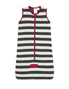 BabyKids Sleeveless Cotton Padded Sleeping Bag with Contrasting Stripes in Grey & Red #soft #cotton #newborn #baby #comfort #grey #red #genderneutral #boy #girl #babykids #sleepingbag #TOGrated #twowayzip