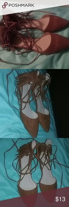 Camel flats They can be tied half way to the knee. Never worn just tried them on. Forever 21 Shoes Flats & Loafers