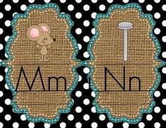 Alphabet-Mini-Posters-Turquoise-Burlap-and-Black-and-White-Polka-Dots-2006810 Teaching Resources - TeachersPayTeachers.com