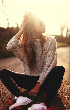 sparkle sweater and converse - dainty-fashion.com