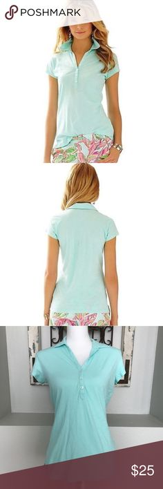 Lilly Pulitzer Green Poolside Blue Lula Polo Shirt Lilly Pulitzer Green Poolside Blue Lula Polo Shirt - Size Medium. Worn just once/ excellent condition. Lilly Pulitzer Tops