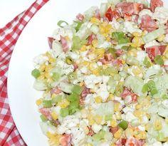 #reteta #salata cu porumb si conopida Cobb Salad, Salad Recipes, Salads, Food, Recipes For Salads, Meals, Salad, Chopped Salads, Yemek