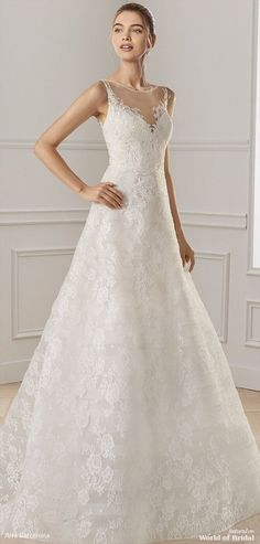 Elegantly romantic A-line beaded lace wedding dress with exquisite illusion neckline and alluring V-back with sheer inserts. Illusion Neckline Wedding Dress, Illusion Dress, Bridal Wedding Dresses, Wedding Bride, Lace Wedding, Wedding Ideas, Sequin Bridesmaid, Bridesmaid Dresses, Lace Bride
