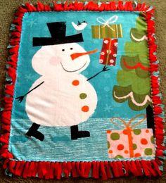 Snowman fleece tie blanket, reversible blanket. Shop here: https://www.etsy.com/listing/210593346/snowman-fleece-tie-blanket-reversible?ref=shop_home_active_12 #snowman #simpleesweetboutique