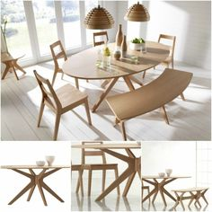 Wooden Dining Table Oak Kitchen Living Room Wood Rustic Oval Contemporary Large for sale online Oval Kitchen Table, White Oak Dining Table, Oak Dining Sets, Oak Dining Chairs, Dining Table With Bench, Wooden Dining Tables, Dining Room Furniture, Dining Room Table, Table And Chairs
