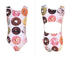 Rose are red, violets are blue, I love donuts how about you? Thissuper sweet Foxy's Leotardgirls gymnastics leotard hasdelicious assorted donuts covering it. It's open back design will keep you cool on the hottest days and offers extreme comfort.
