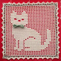 Ravelry: Kitty Cat Filet pattern by Glendola Hodges Crochet Pillow Patterns Free, Filet Crochet Charts, Crochet Bedspread, Crochet Cross, Crochet Motif, Crochet Doilies, Crochet Stitches, Stitch Patterns, Crochet Rabbit