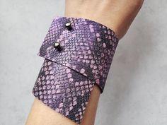 Unique Purple Snake Bracelet Geometric Snake Skin Bracelet | Etsy