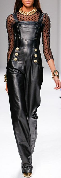 DIY Inspiration: Sheer top W/ Black Overalls and Gold Details via Balmain SS 2014