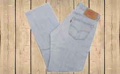 Vintage Levis 501 Denim Jeans Straight Leg Made in Spain 90s Light Blue Stripe W32 L32 by BlackcatsvintageUK on Etsy