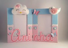 Porta retrato personalizado - Nuvem - passarinho Cloud Party, Martha Stewart Crafts, Room Accessories, Diy Frame, Baby Knitting, Ideas Para, Picture Frames, Diy And Crafts, Birthday Parties