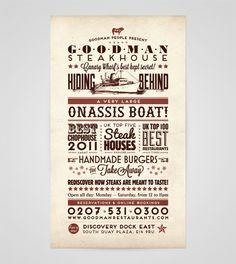 Goodman Steakhouse by Ello Mate! , via Behance Graphic Design Posters, Graphic Design Inspiration, Menu Design, App Design, Handmade Burger, High Point University, House Restaurant, Restaurant Ideas, Best Steak