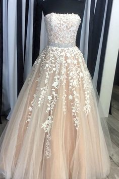 Champagne tulle lace sweetheart A-line long dresses,Fashion Prom Dress,Sexy Party Dress,Custom Made Evening Dress