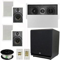 """5.1 Home Theater 6.5"""" Speaker Set with Center, 15"""" Powered Sub and More TS65WL51SET9 by Theater Solutions. $411.99. Specifications4 TS65W In Ceiling/Wall Speakers6.5"""" Woven Kevlar Driver with 32-20,000 Hz Range200 Watts RMS and 400 Watts Max per pair93dB SensitivityWall Cut Out Size is 10.5"""" x 7.125""""Overall Measurement is 12.125"""" x 8.6875""""Mounting Depth is 3""""1 TSLCR5 In Ceiling/Wall Center ChannelDual 5.25"""" Woven Kevlar Drivers with Rubber Surround100 Watts RMS and 200 W..."""