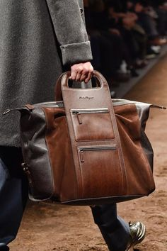 View all the detailed photos of the Salvatore Ferragamo men's autumn (fall) / winter 2015 showing at Milan fashion week. Read the article to see the full gallery. Salvatore Ferragamo, Fashion Bags, Mens Fashion, Fashion Menswear, Milan Fashion, Style Fashion, Sac Week End, Well Dressed Men, Men's Grooming