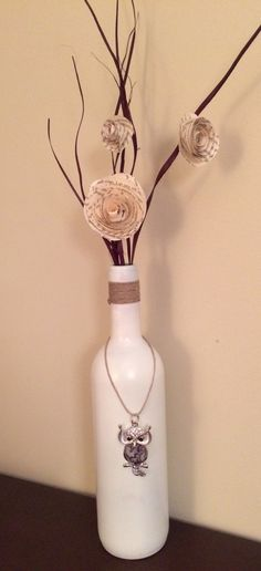 Wine bottle decor with owl charm by Sparklepretty1 on Etsy