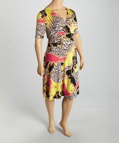 This Fuchsia & Yellow Status Surplice Dress - Plus is perfect! #zulilyfinds