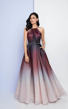 Terani Couture - Halter Neckline Ombre Evening Gown in Neutral and Red Source by dbneufeld gowns Fancy Prom Dresses, Pretty Dresses, Formal Dresses, Ombre Prom Dresses, Terani Couture, Bride Groom Dress, Beautiful Gowns, Stunning Dresses, Dream Dress