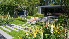 See the lg eco-city garden at rhs chelsea flower show 2018 / Urban Garden Design, Chelsea Flower Show 2018, Next Garden, Chelsea Garden, Eco City, Back Gardens, House Gardens, Colorful Garden, Garden Planning