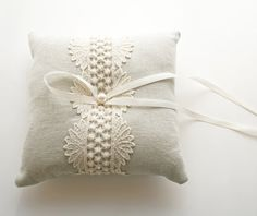 RIng Bearer Pillow, Natural Linen, Lace Pillow, Toulouse Pillow $90.00
