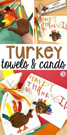 Turkey Handprint Towels and Kid Made Thanksgiving Cards - Pocket of Preschool