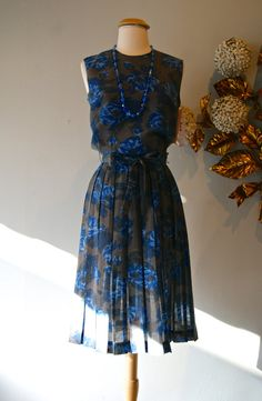 Vintage 1960s Rose Print Cotton Day Dress Pleated by xtabayvintage, $148.00