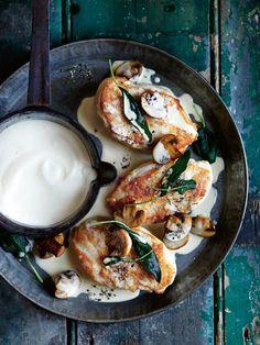 roast chicken with marsala, sage, mushroom and creamy semolina from donna hay magazine