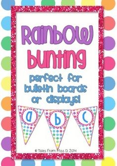 This rainbow bunting will brighten up your classroom and make your displays POP!  Simply print, laminate and hang!  This file contains lower and uppercase letters*, an exclamation mark and numbers 1 to 10.