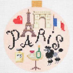 """Needlepoint Travel Round- Paris by Kirk & Bradley Style: KB1258 Size: 4"""" round Mesh Count: 18"""