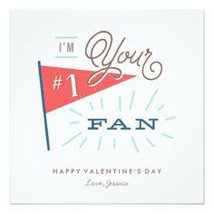 #1 Fan Valentine's Day Card Custom Invite
