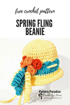 FREE CROCHET PATTERN - Spring Fling   Pattern Paradise. This is a fun hat perfect for spring and summer. It would make a great Easter bonnet too! Have fun customizing it with flowers, bows and more. #crochet #patternparadisecrochet #freecrochetpattern