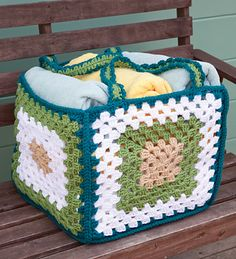 granny square basket.... Love the idea, but I would pimp the squares and use brighter colours....