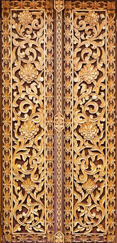 Buy Thai doors ivy pattern by koratmember on PhotoDune. Thai native ivy pattern gold door at wat thaiChaingraiThailand