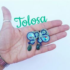 Modello TOLOSA blu e verde #orecchini #earrings #soutache