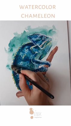 Chameleon in Watercolor - Watercolor Video, Watercolor Artwork, Watercolor And Ink, Painting Videos, Painting Process, Nature Drawing, Sketch A Day, Bird Drawings, Pictures To Draw