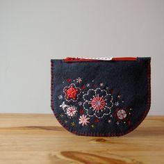 Sakura Made To Order Hand Embroidered Wool Felt Purse by LoftFullOfGoodies, $24.00