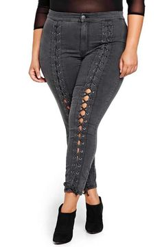 ADDITION ELLE LOVE AND LEGEND Nadia Aboulhosn Lace-Up Denim Skinny Jeans (Plus Size)