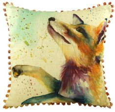 Fox Cushion With Bobble Trim From The Artistic Animals Collection - A Bentley Cushions