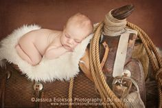 Little Cowboy Favorites- Jessica Erickson Photography Newborn - Newborn Photography. Little boy with cowboy saddle.