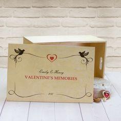 Personalised Large Wooden Keepsake Box - Love Birds