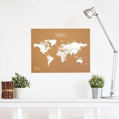 Mapa de corcho en color blanco #explore #travel #mug #deco #inspiration #memories #souvenir #bottle #accessories #cool #beautiful #cute #world #myworld #pinit