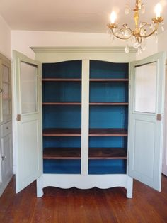 UK based online boutique specialising in authentic French armoires, antique mirrors and French decorative accessories. French Armoire, French Mirror, Peacock Blue Paint, Oak Shelves, Brass Hinges, Uk Homes, Kitchen Sets, French Vintage, French Antiques