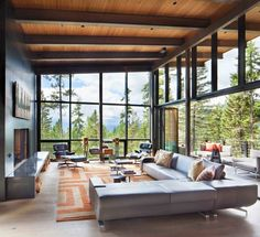30 Luxury Designing A Rustic Living Room Home Interior Design, Interior Architecture, Interior Modern, Luxury Interior, Modern Mountain Home, Modern House Design, Modern Living Room Designs, Modern Glass House, Glass House Design