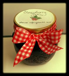 homemade strawberry jam...all tied up and ready to be gifted | The Cupcake Queen Tunis