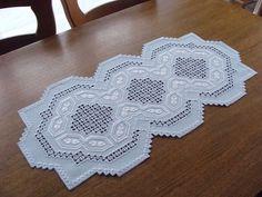 HARDANGER Embroidery - TABLE RUNNER in fashionable lightblue-white - handmade