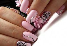 Wonderful nail artwork with pink Wundervolle Nagelkunst mit Rosa – Nageldesign Square Nail Designs, Cute Nail Art Designs, Flower Nail Designs, Black Nail Designs, White Acrylic Nails, Pink Nail Art, Glitter Nail Art, Pink Nails, White Nail