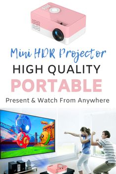 This palm sized mini HDR projector will enable you to present your work anywhere and you can convert a room into an instant home cinema. This cool gadget features: 320*240 pixels, supports 1080P HDMI, contrast 800:1, projection distance 1.2-3m, projection size 20-80 inches. Comes in multiple colours and international plug options. #homecinema #miniprojector #portable #coolgadget #gadget Home Cinemas, Cool Gadgets, Hdr, Distance, Contrast, Palm, Colours, My Favorite Things