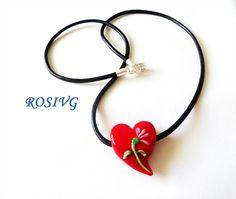 Collar corazon de murano italiano rojo con flor plata 950.  by rosivg, via Flickr