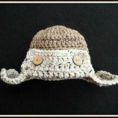 Bonnet pilote bebe au crochet  ideal seance photos